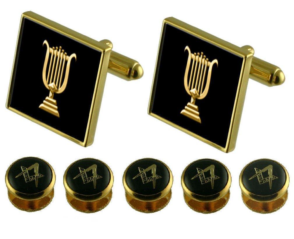 Organist Gold Cufflinks Masonic 5 Shirt Dress Studs Box Set