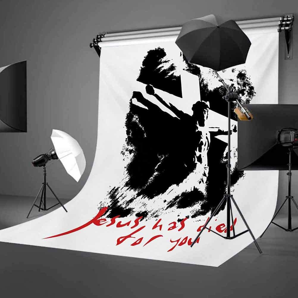Quote 10x15 FT Photography Backdrop Grunge Style Image on The Cross Scenery and He Has Died for Your Sins Phrase Background for Photography Kids Adult Photo Booth Video Shoot Vinyl Studio Props