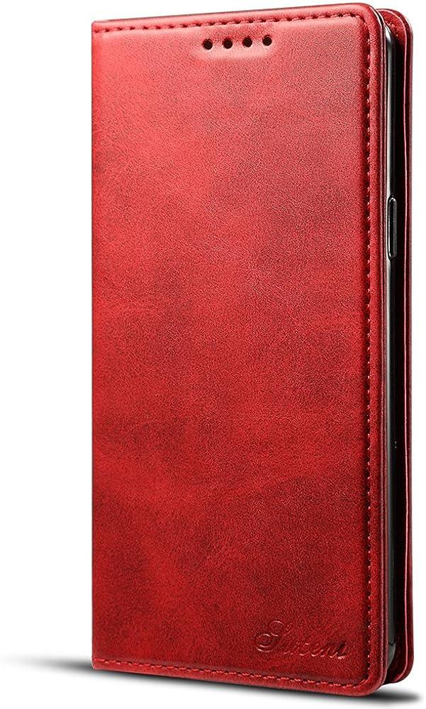 Samsung Note 9 Funda Cartera cuero con ranura para tarjetas, cubierta protectora con función soporte, Rojo: Amazon.es: Ropa y accesorios