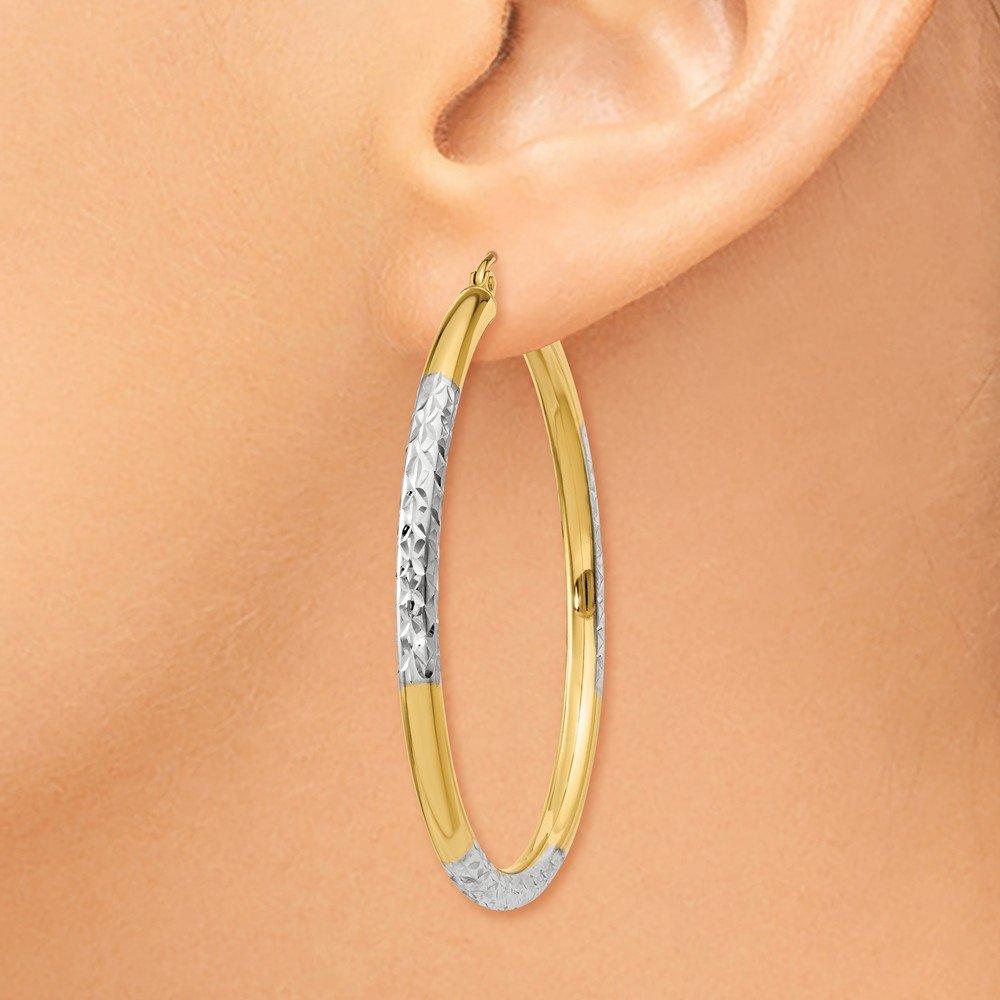 Mia Diamonds 14k Yellow Gold and Rhodium Diamond-cut 3x45mm Hoop Earrings