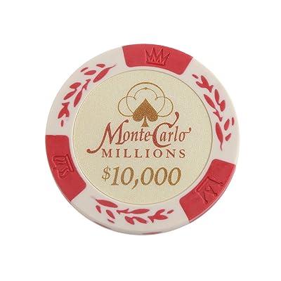10pcs Monte Carlo Jetons De Poker Etiquette De Casino Chips avec Valeur Dollar 1-10000 - 10000, /