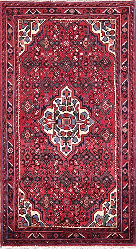 (New 3X6 Traditional Red Hamedan Persian Area Kitchen Rug Hand-Knotted Oriental )
