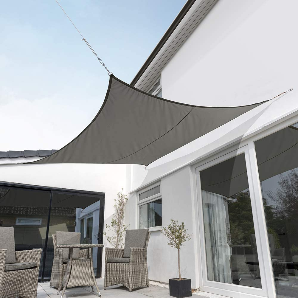 "Kookaburra Waterproof Charcoal Sun Shade Sail Garden Patio Gazebo Awning Canopy 98% UV Block with Free Rope (17ft 9"" Square)"