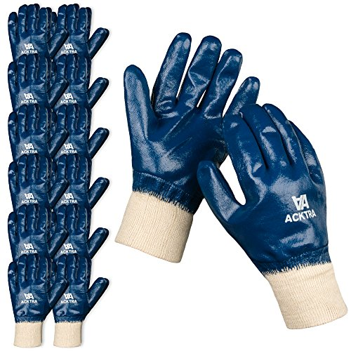 Coated Cotton WORK GLOVES 12 Pairs / 1 Dozen, Knit Wrist Cuff, Oil Acid Alkali Resistant, for Men & Women, Blue, Medium, WG005 (12 Pair Oil)