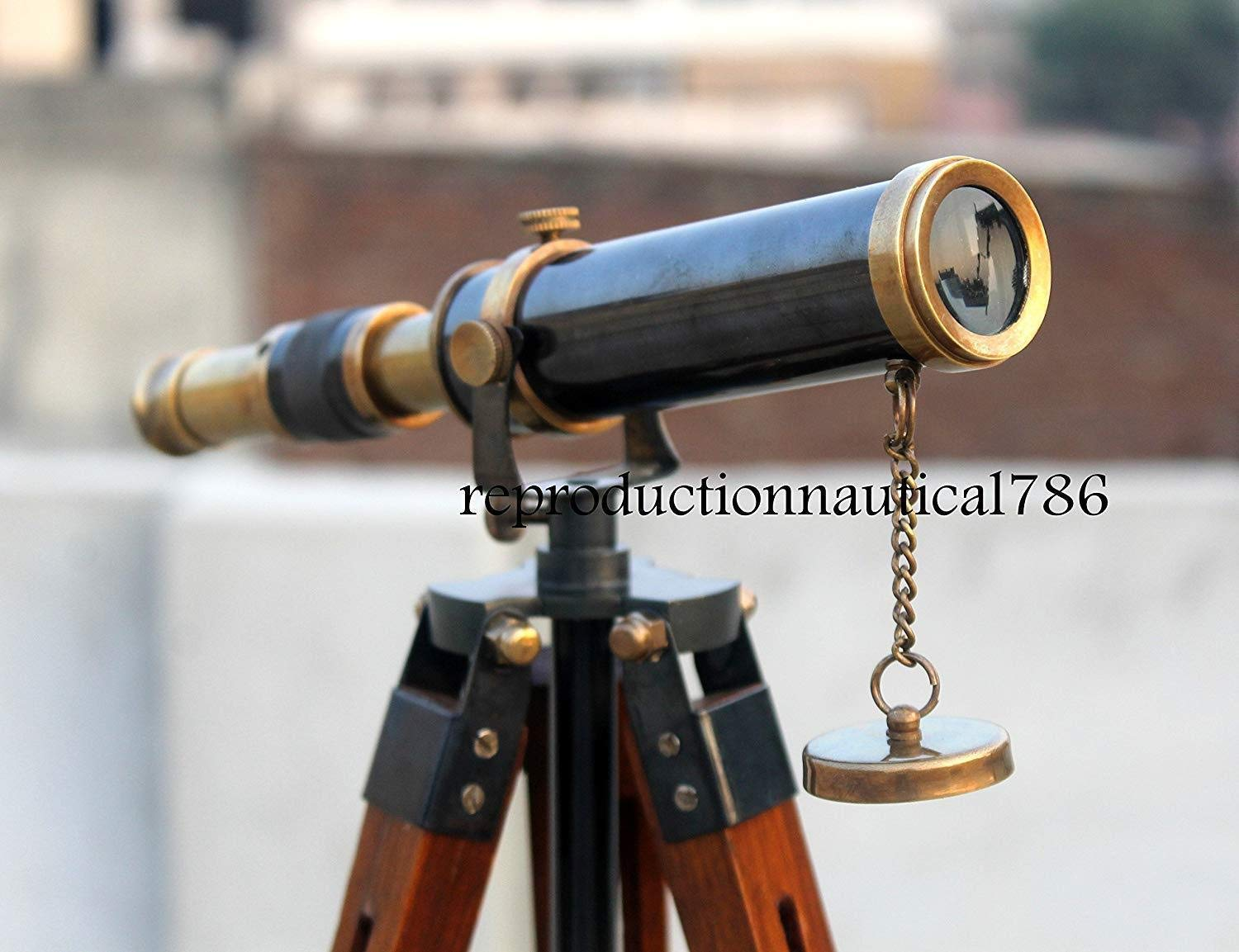 Arsh Nautical Antique Collectible Brass Marine Maritime Telescope with Wooden Tripod Stand