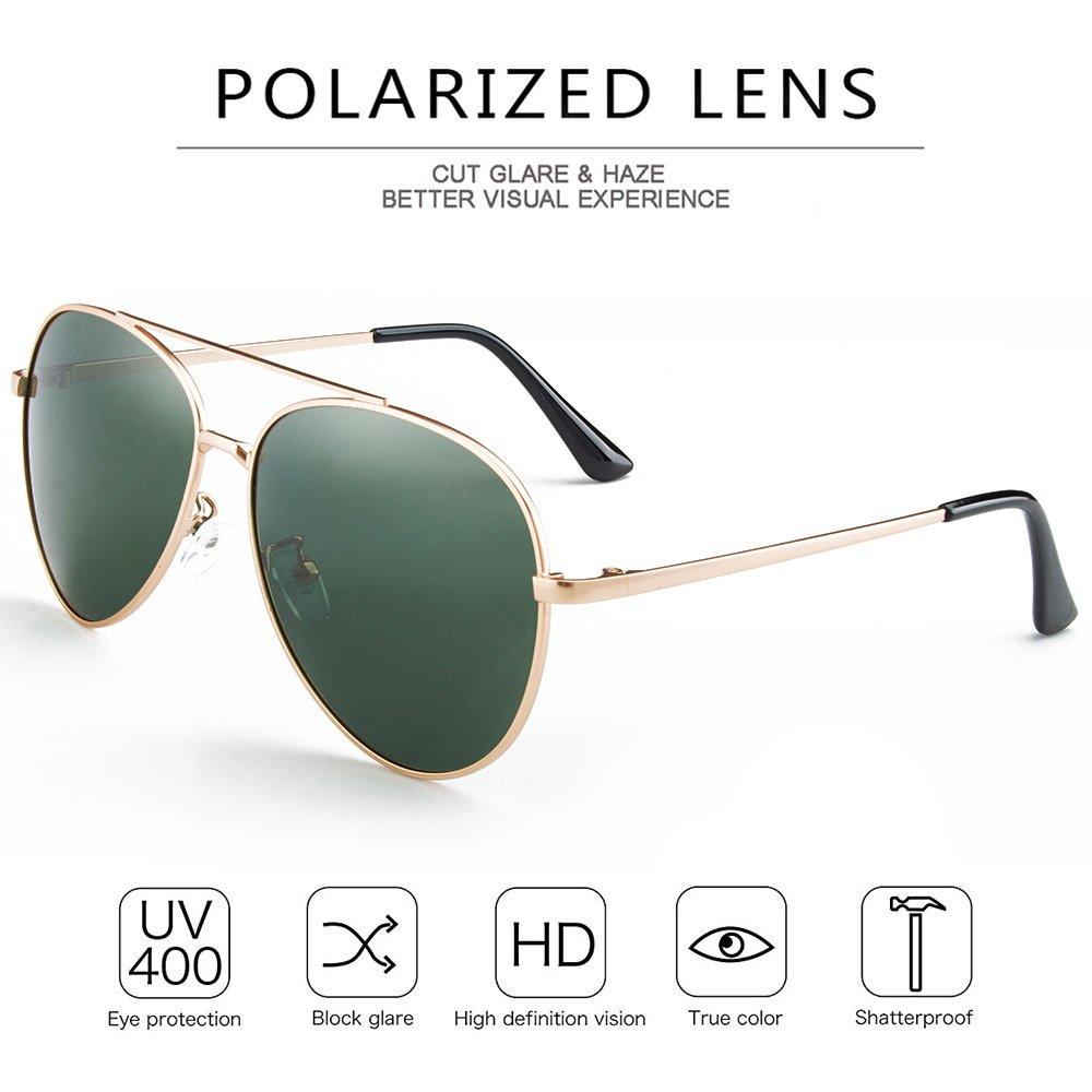WELUK Classic Aviator Sunglasses Men Women Metal Driving Pilot Fishing Glasses (Gold & Dark Green, 60)