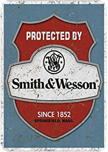 """Modern Tin Protected by Smith&Wesson Metal Tin Sign Wall Decor for Bar/Cafe/Home Kitchen/Restaurant/Garage/Man Cave/Lounge Décor,12"""" X 8"""" Inches"""