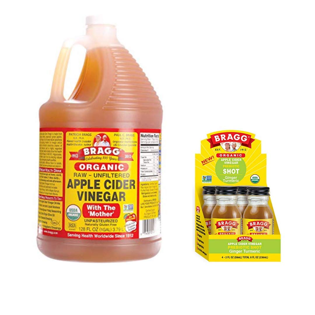 Bragg Organic Apple Cider Vinegar With the Mother 128 ounce and Bragg Organic Apple Cider Vinegar Shot with Ginger Turmeric 2 ounce ACV Shot Pack of 4 Bundle