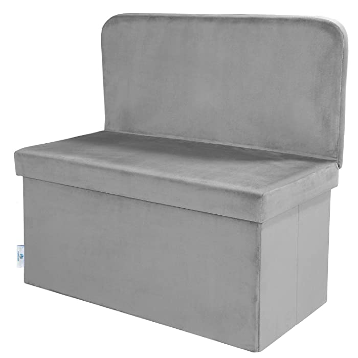 B FSOBEIIALEO Folding Storage Ottoman with Seat Back Footstool Space-Saving Room Organizer Cube Box for Seating & Resting (Grey, Large)