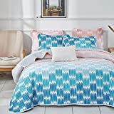 Joyreap Lightweight Quilt Set, 3 Pieces Microfiber Summer Quilt, Gradient Blue Gray Coral Design, Bedspread Bed Cover for All Season, 1 Quilt n 2 Pillow Shams (Full/Queen, 92x90 inches)