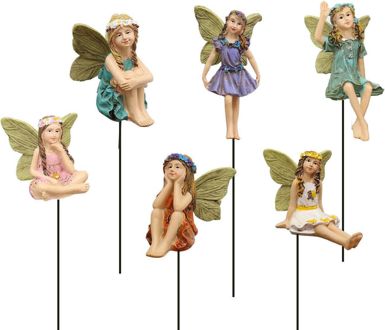 IFFUNNI Fairy Garden - Set of 6 pcs Miniature Fairies Figurines for Outdoor Garden Lawn Décor