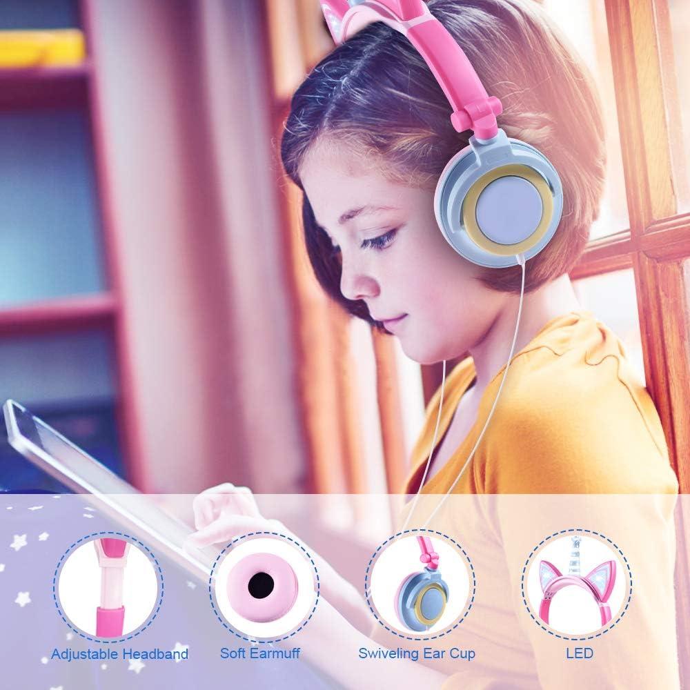 AMARILLO + P/ÉTALO auriculares ni/ña,cascos ni/ña,auriculares orejas de gato,cascos unicornio ni/ña,auriculares infantiles ni/ña,auriculares unicorni,audifonos de gato,auriculares infantil unicornio