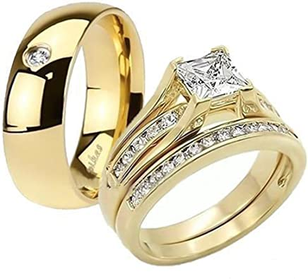 Amazon.com: His & Her 14K.G.P., conjuntos de anillos de ...