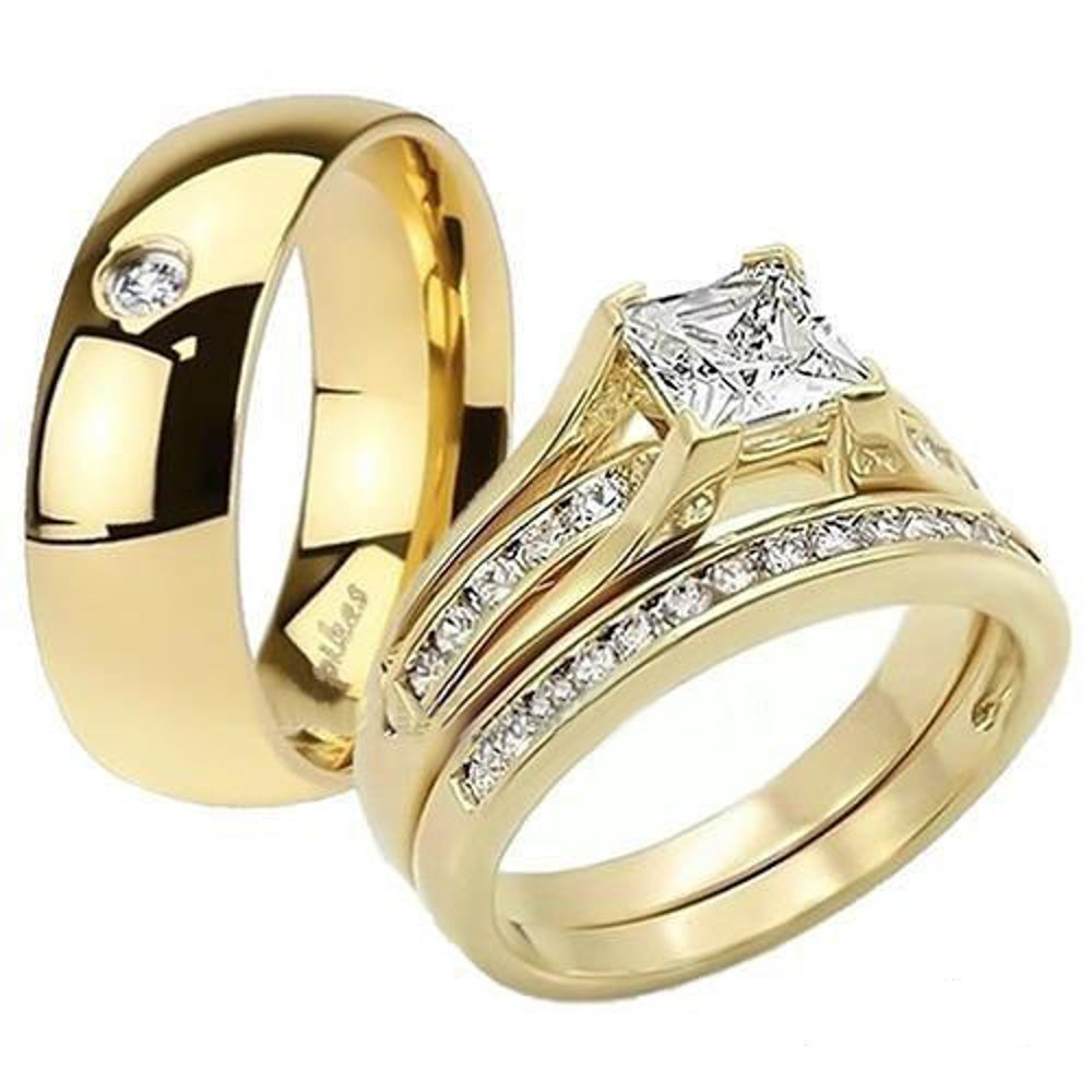 His & Her 14K G.P. Stainless Steel 3pc Wedding Engagement Ring & Men's Band Set Women's Size 11 Men's Size 10