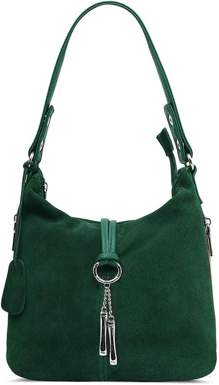 Fashion Women Split Leather Shoulder Bag Female Suede Casual Crossbody Handbag,Dark Green,