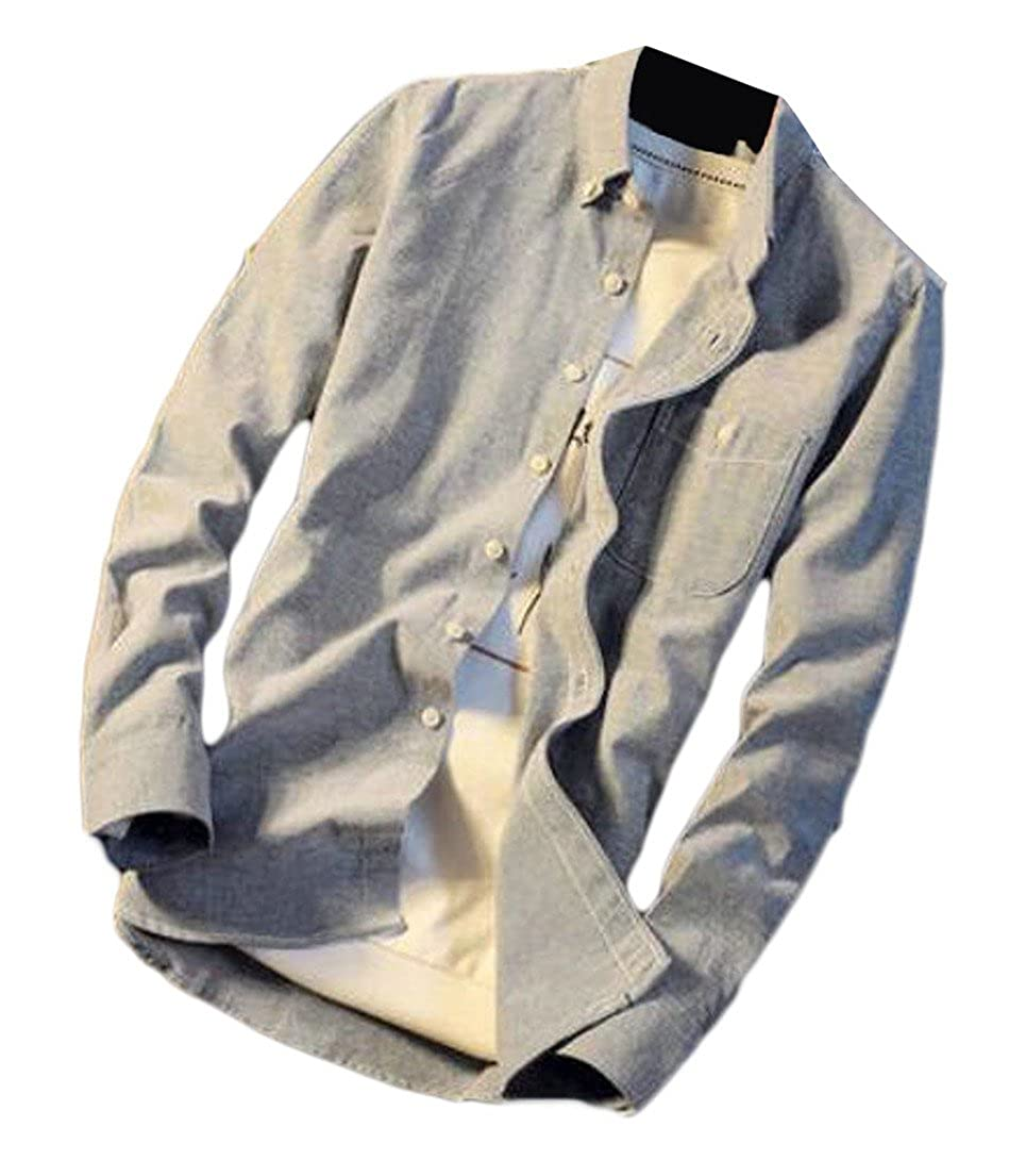 Sweatwater Mens Slim-Fit Button Down Long Sleeve Pure Color Dress Shirt