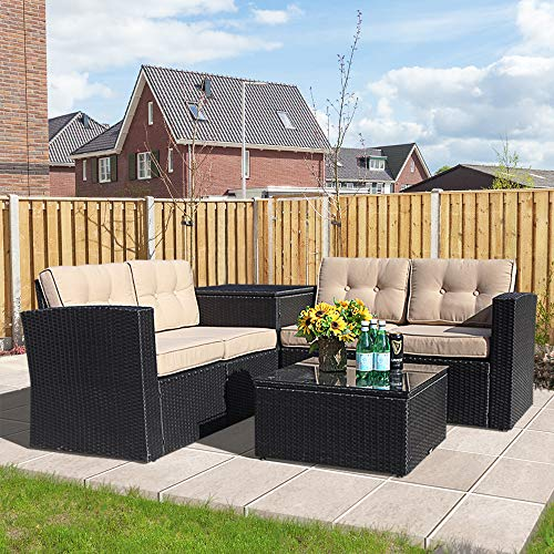 Super Patio Outdoor Furniture, 6 Piece All-Weather Black PE Wicker Sectional Sofa with Beige Cushions,Aluminum Frame