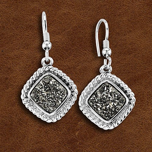 Kelly Herd Crushed Stone Silver Druzy Earrings