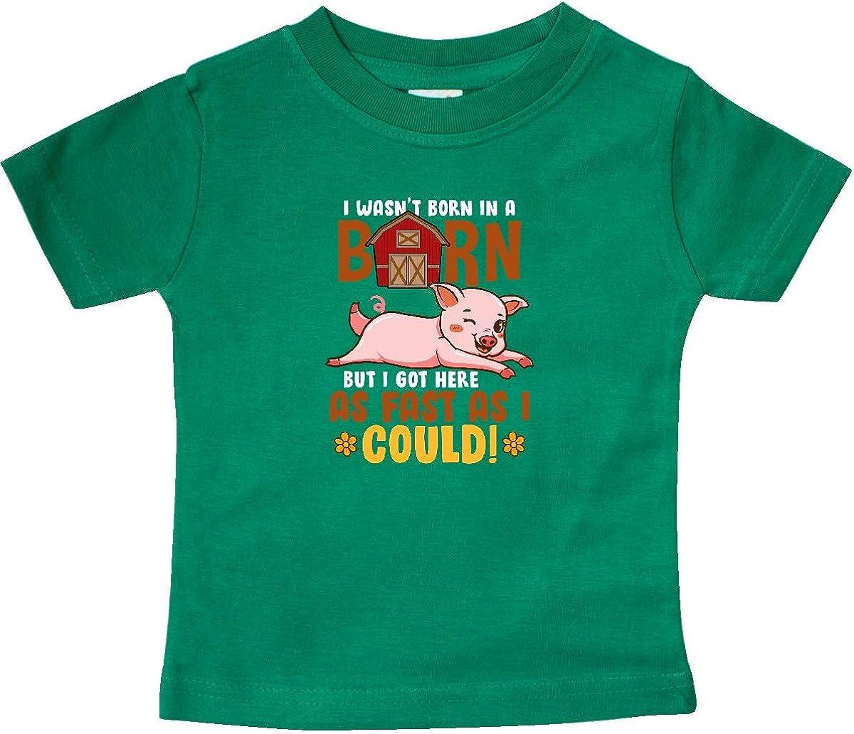 inktastic Farmer Gift Born in a Barn Baby T-Shirt
