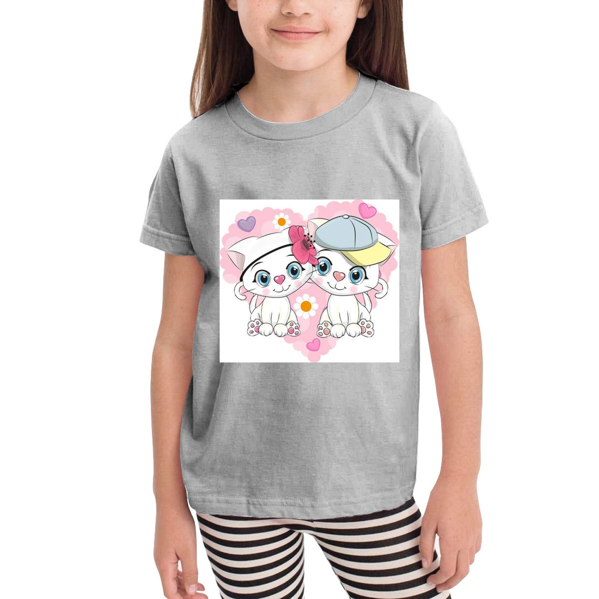Cute Cats Love 100/% Cotton Toddler Baby Boys Girls Kids Short Sleeve T Shirt Top Tee Clothes 2-6 T