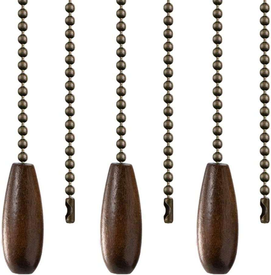 Walnut Wooden Pull Chain Set, 3 Pack Ceiling Fan Pull Chains for Ceiling Fan Light Decoration with Ball Chain Connecter: Kitchen & Dining
