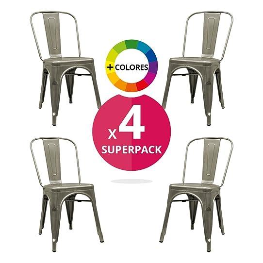 Chaise Industriel (Pack 4) - Chaise Métallique - Chaise Métal