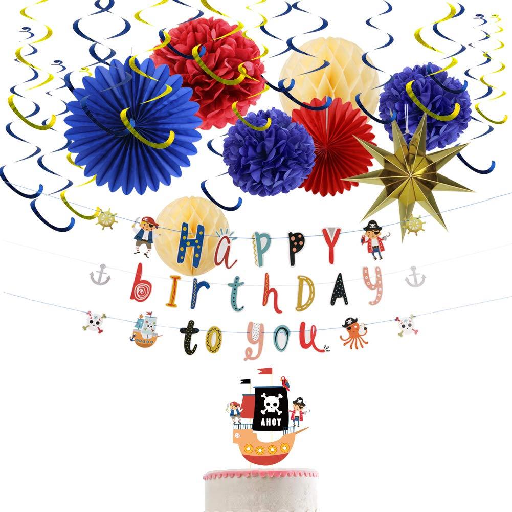 Decoraciones de Cumpleaños de Piratas Happy Birthday Festoon ...