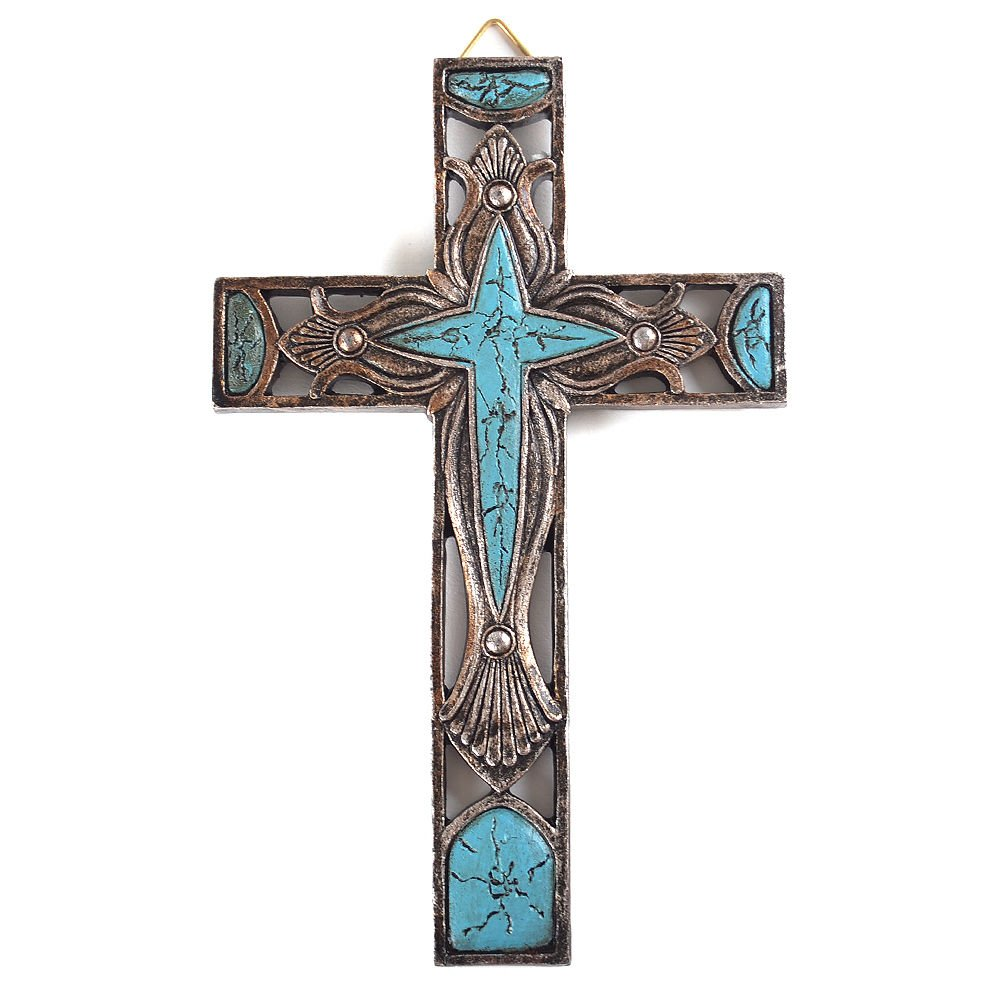 8 Western Style Wall Cross Hollow Floral Carving Faux Turquoise Stone Mental Texture GMW