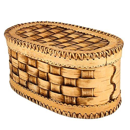 - Handmade Natural Birch Bark Wooden Bread Box Kitchen Food Storage Wicker