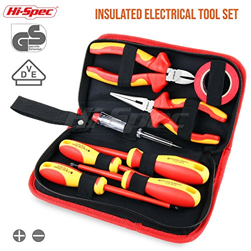 Hi-Spec 8 Piece Electrician Tool Set – VDE Approved Pliers