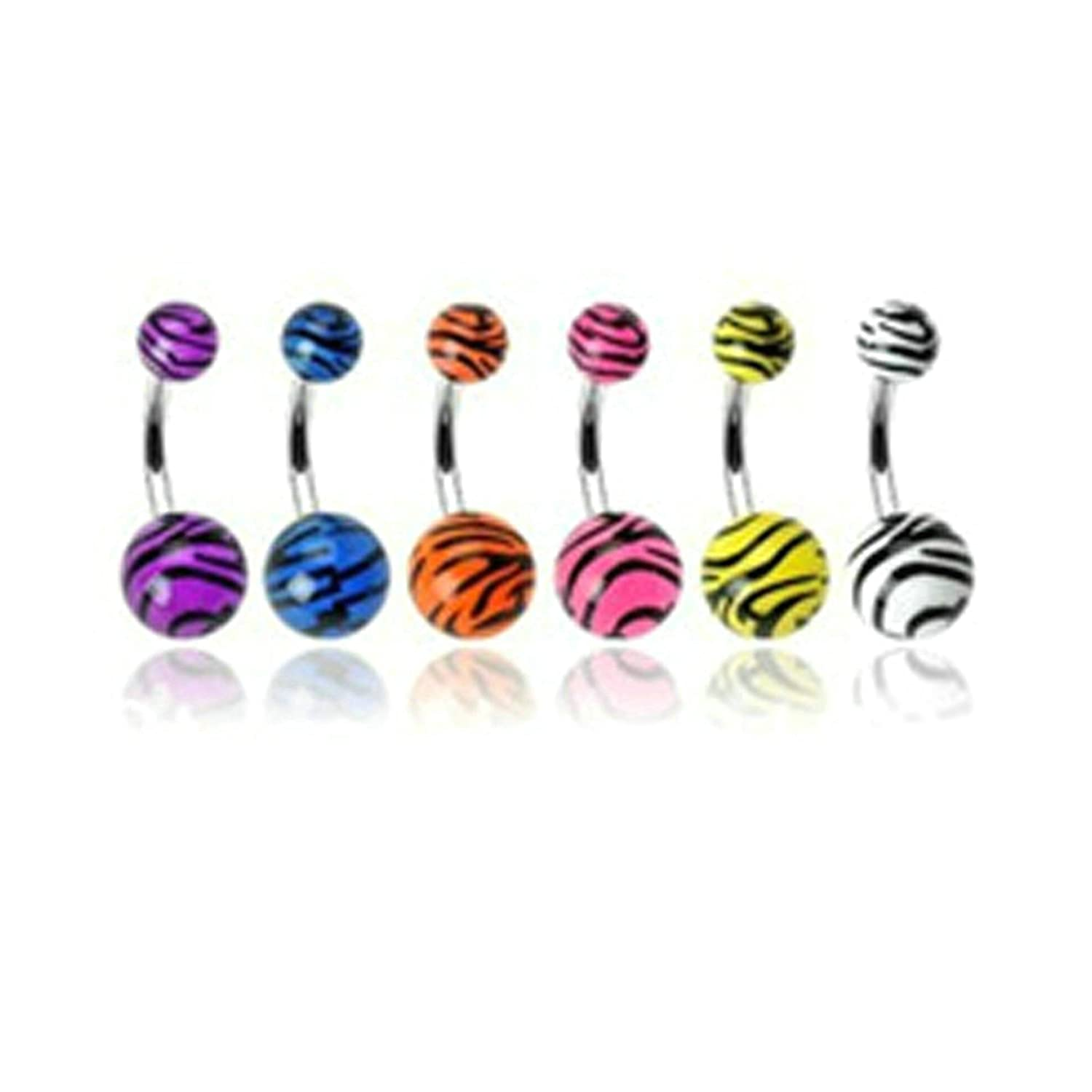 Aooaz Belly Button Piercing Rings Stainless Steel Double Bead Zebra Pattern 1 Set Body Piercing Colorful