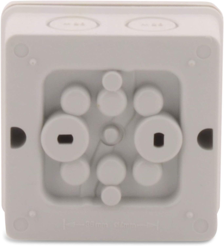 BOXEXPERT Bo/îte de d/érivation s/érie Hanse 88x88x53mm IP 66 /étanche /à la poussi/ère gris clair RAL7035 Bo/îte de d/érivation ext/érieure bo/îtier plastique bo/îtier mural bo/îte dinsta
