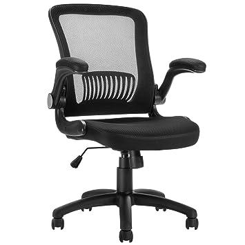 LANGRIA Chaise De Bureau Pivotante A Roulettes Ergonomique Dossier Inclinable En Maille Respirant Hauteur Reglable Assise