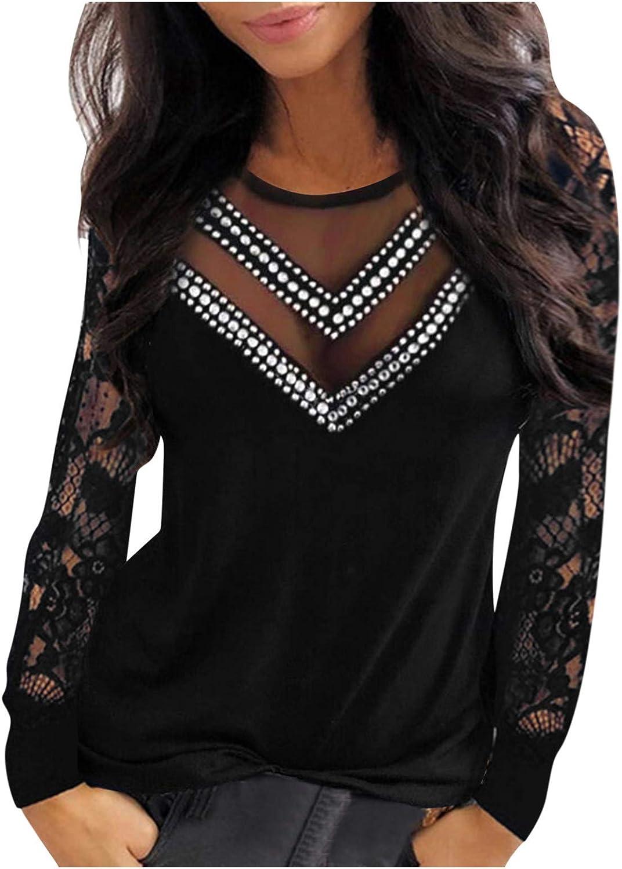 다이아몬드 탑스 레이디스 원근 섹시 V 넥 셔츠를 매치한 여성용 레이스 롱 슬리브 블라우스