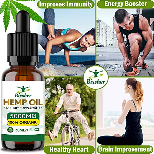 61qgrtBNZ4L - Premium Hemp Oil Drops 5000 mg | Pure Organic | Natural Sleep Aid | for Pain Relief, Anxiety and Stress | Vegan Friendly | 100% Natural Ingredients Rich in Omega 3-6-9 & Vitamins | Gluten Free