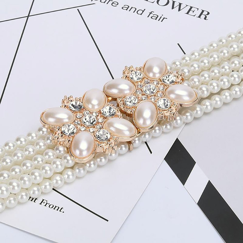 Ya Jin Elegant White Pearls Rhinestones Elastic Belt Chain Belt Interlocking Buckle for Women Dress by Ya Jin (Image #3)