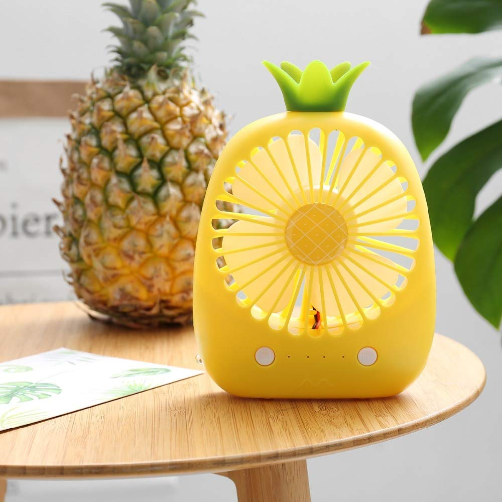 SaveStore Newest Cute Mini Cartoon Pineapple Fan 3 Colors USB Electric Mini Hand Portable Fan for Summer Gift