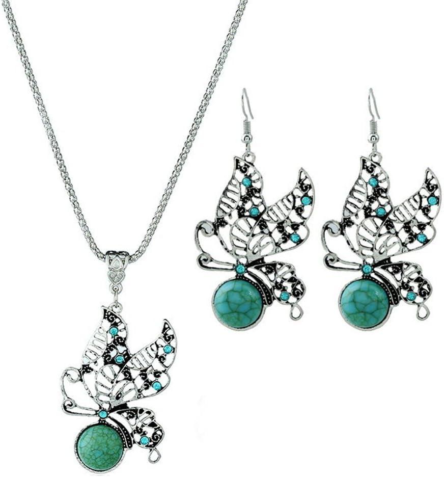 Doitsa Mujer Niña Conjunto de joyas turquesa collar y pendientes traje conjunto Retro Elegante joyas de ajouré mariposa cristal colgante estilo collar y pendientes Bohemia Vintage