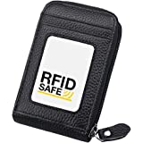 Hibate RFID Blocking Leather Credit Card Case Holder Security Travel Wallet - Black
