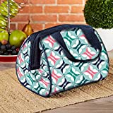 Image of Fit & Fresh Charlotte Insulated Lunch Bag for Women/Girls with Ice Pack, Ideal for Work/School, Zips Closed, Blue Butterfly Geo