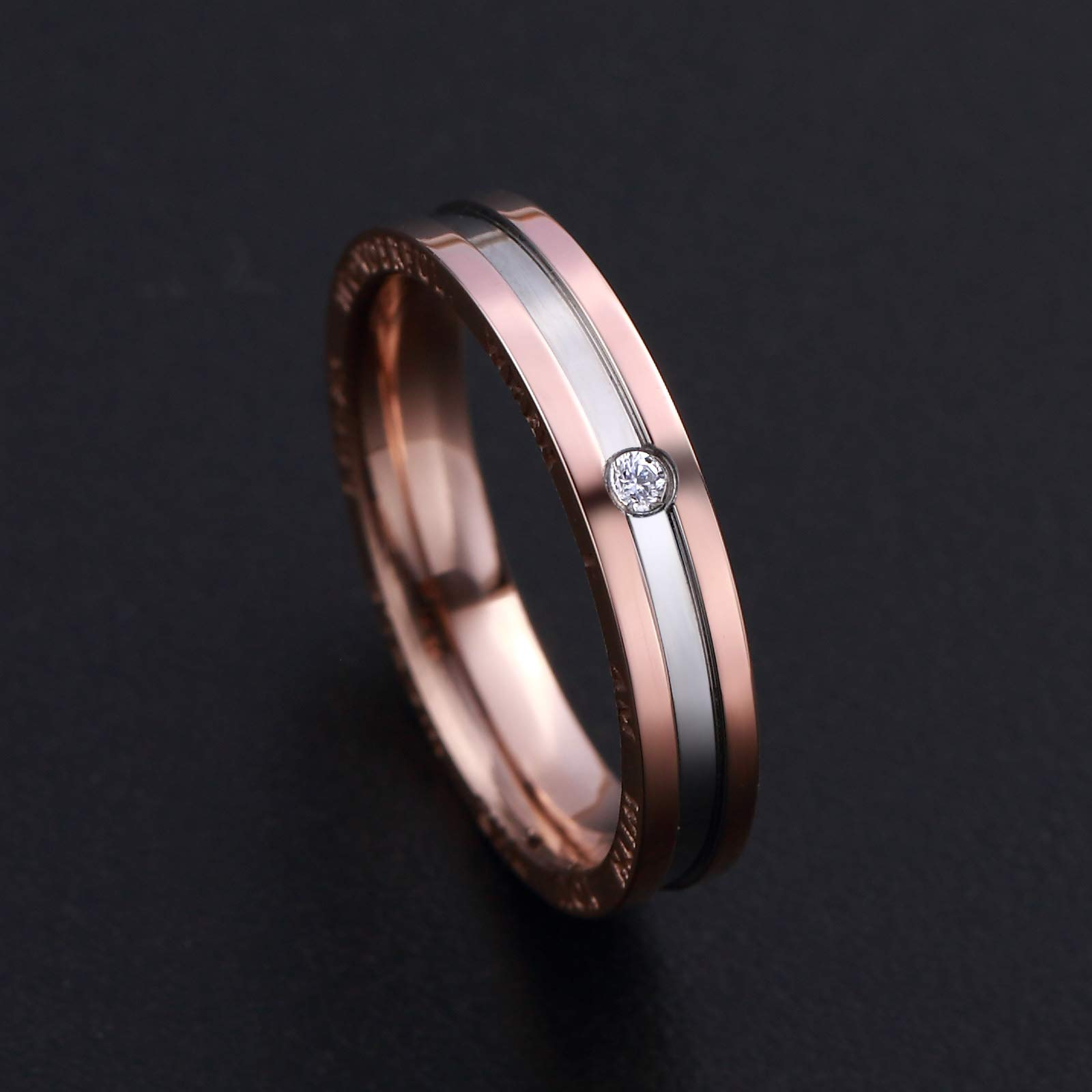 Dec.bells Silver Rose Gold Two Tone Stainless Steel Promise Ring Band Small Ring for Her (Size 5) by Dec.bells (Image #5)