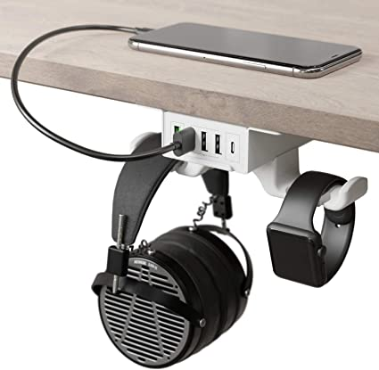 and PC Accessory Computer Gaming White | Under Desk Headset Hanger and Mount with 3 USB-A Ports HumanCentric Headphone Stand with USB Charger