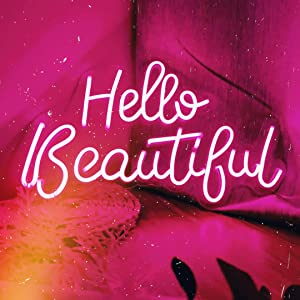 JXIN Neon Hello Beautiful Signs with Dimmable Switch. Pink Neon Sign Hello Beautiful for Wall Decor, Hello Beautiful Neon Lights Bedroom Decor. Size 16.7 X 10.2 Inches, (Pink)