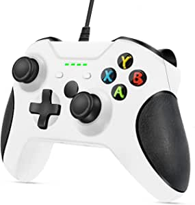 VOYEE Controller Replacement for Xbox One, VOYEE Enhanced Wired Controller with Headphone Jack/Double Shock/Upgraded Joystick Compatible with Microsoft Xbox One/X/S/Elite with (White)