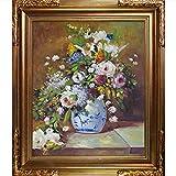 overstockArt Renoir Grande Jarrón Di Fiori Pintura con acabado en marco de oro florentino