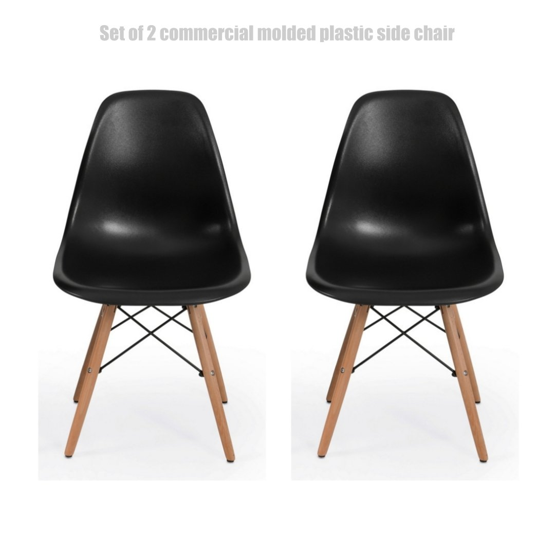 Classic Vintage Style Dining Chair Molded Plastic Flexible Backs Support Deep Seat Pockets Straight Wooden Dowel Legs Innovative Side Chair - Set of 2 Black #1444