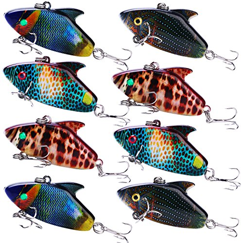 Sougayilang Fishing Lure - ABS Hard Plastic Topwater Minnow Lure with Steel Ball Inside, Super Realistic Color, VMC Hooks, 3D Eyes for Carp Bass Salmon Trout Pike Fishing ()