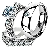 His & Her 3 Pc Stainless Steel 2.95 Ct Cz Bridal Set & Men Zirconia Wedding Band Women's Women's Size 05 Men's Size 10