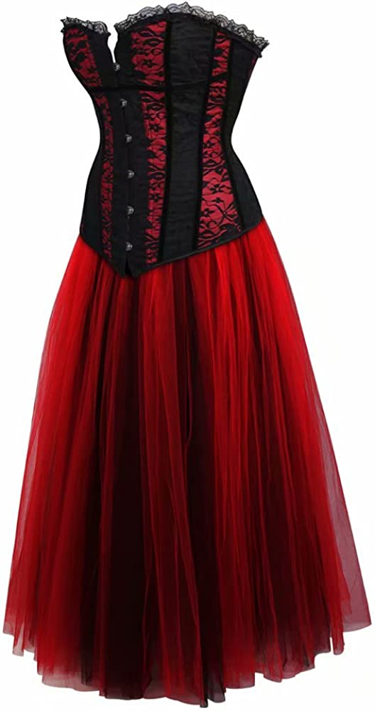 Mujer Gótico Encaje Dress Corset Vestido Largo Bustiers Falda Tutu ...
