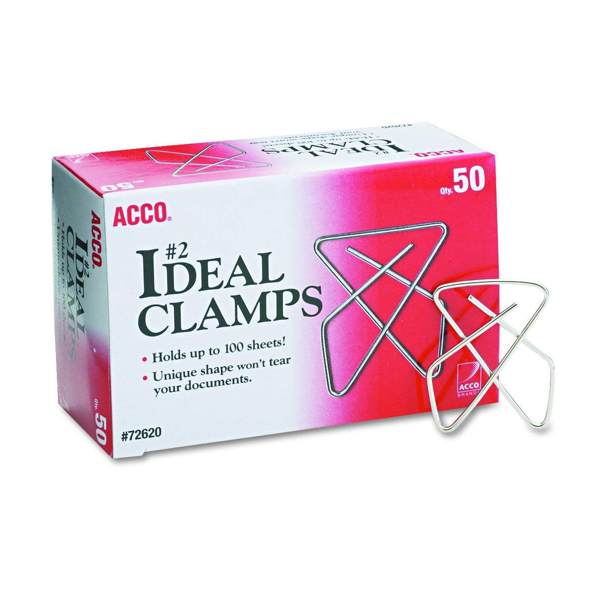 ACCO Ideal Butterfly Paper Clamps, Steel Wire, Small 1.5 Inch Size, 100 Sheet Capacity, Silver, 50 Clamps per Box (A7072620), Pack of 12